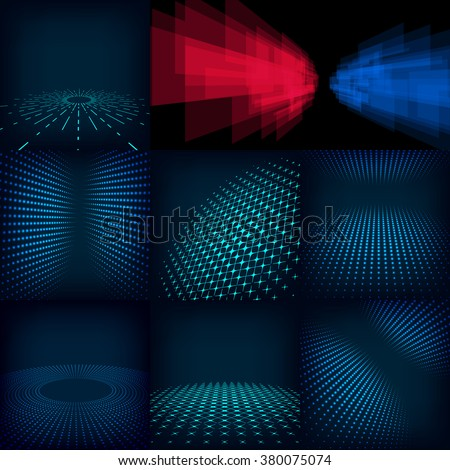 Set of nine abstract blue red and cyan digital background posters. Template made with gradient, circles and dots effect flares, mesh and halftone. Good design pattern promotion, business and marketing - stock photo