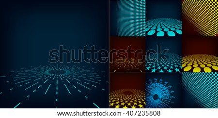 Set of nine abstract blue, red and cyan digital background posters. Template made with gradient, circles and dots effect. Includes flares, mesh and halftone. Good design pattern for promotion