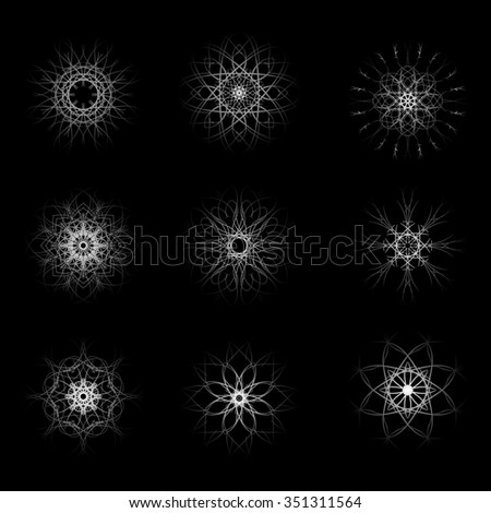Set of nine beautiful original snowflake for Christmas and New Year winter design - stock photo