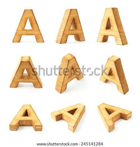 Set of nine block wooden capital A letters in different foreshortenings isolated over the white background - stock photo