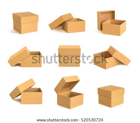 Set of nine cardboard boxes isolated on white background