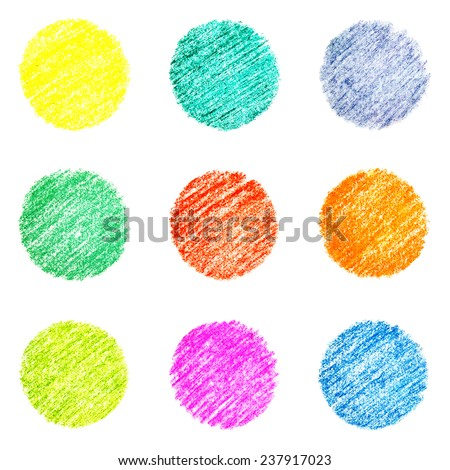 Set of nine colorful circles, hatched by pastel crayons