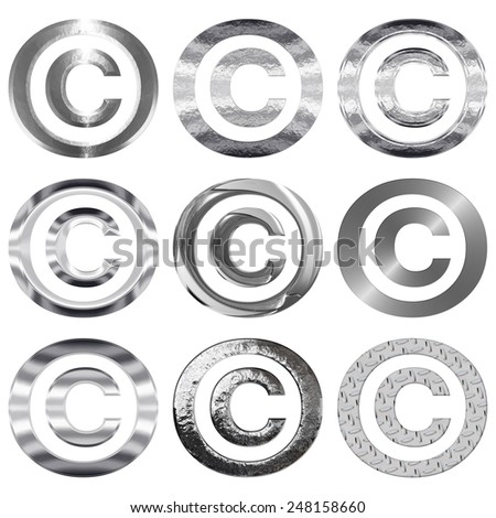 Set of nine copyright symbols in shiny silver metal textures, including brushed steel, chrome, flat, beveled, smooth, pitted & diamond plate. Icons are isolated on a white background. - stock photo