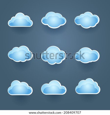 Set of nine different blue cloud icons in different shapes conceptual of the weather forecast or cloud computing