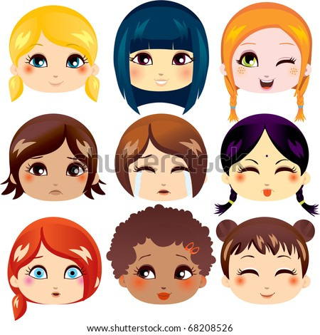 Set of nine facial expressions of cute girls from various ethnic groups - stock photo