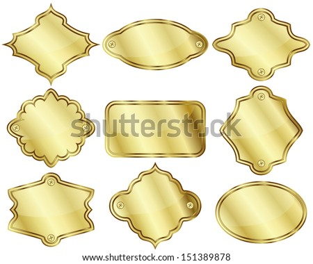 Set of nine isolated golden labels or plates - stock photo