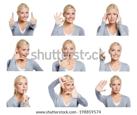 Set of nine pictures of pretty young woman with different gestures and emotions, isolated on white - stock photo