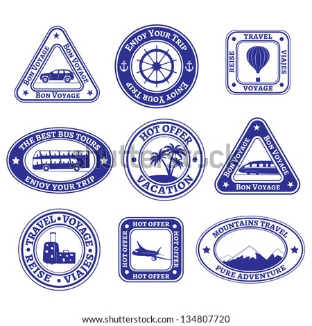 Set of nine stamps and badges on tourism and travel in blue. Raster version.