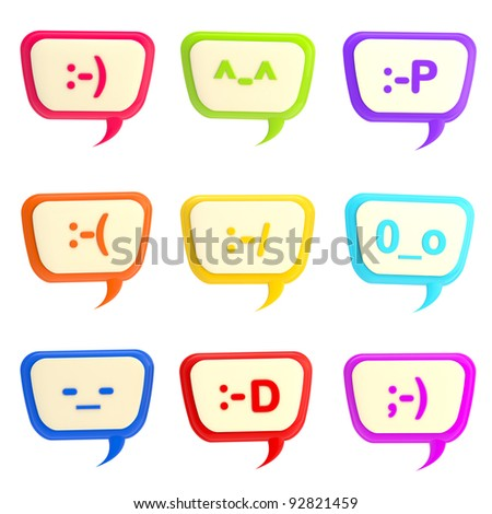 Set of nine text bubbles with smiley faces inside, isolated on white