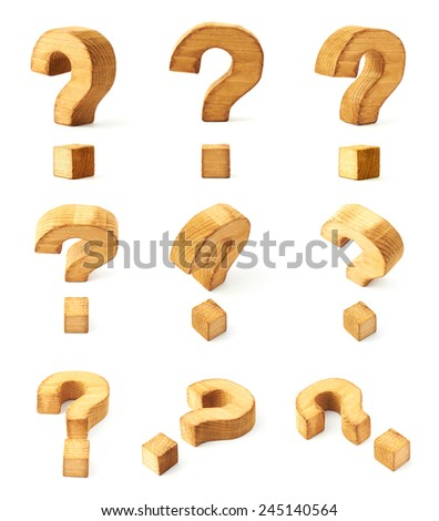 Set of nine wooden question mark symbols in different foreshortenings isolated over the white background - stock photo