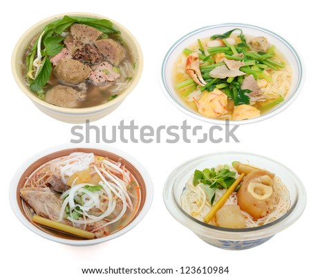 Set of noodle soups bowls - stock photo