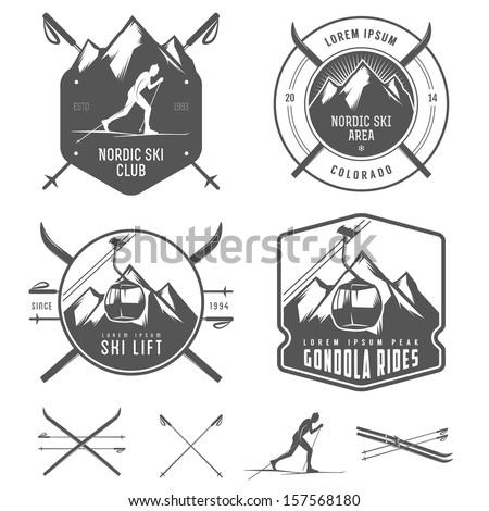 Set of nordic skiing design elements - stock photo
