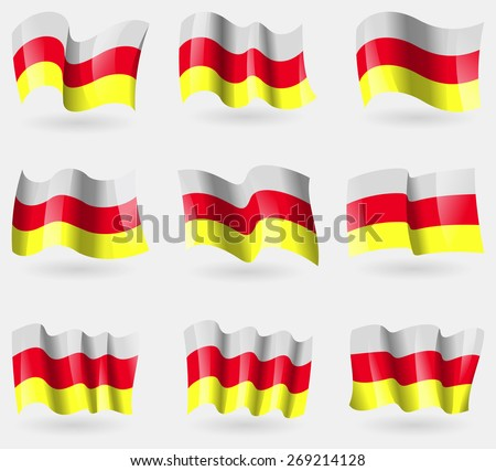 Set of North Ossetia flags in the air.  illustration - stock photo