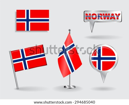 Set of Norwegian pin, icon and map pointer flags. Raster version - stock photo