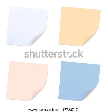 Set of Note Papers. Illustration - stock photo