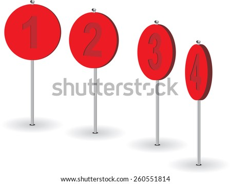 Set of numeral pins. Raster version - stock photo
