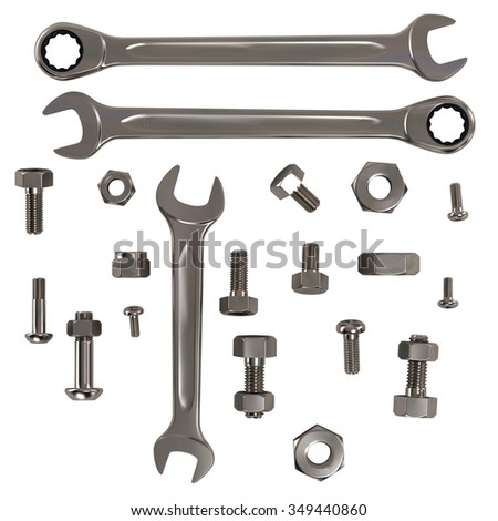 Set of Nuts, Bolts and Wrenches Isolated on White.