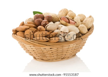 set of nuts in bowl isolated on white background - stock photo