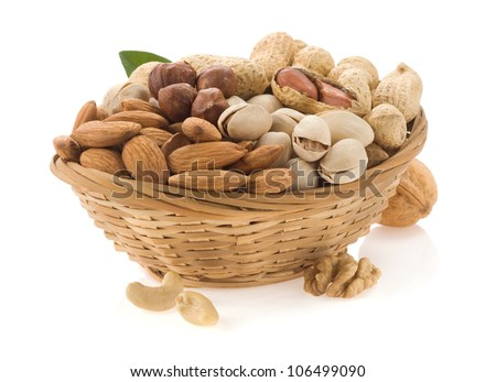 set of nuts isolated on white background - stock photo