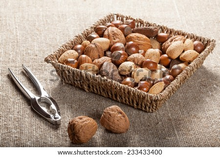 Set of nuts with a nutcracker. - stock photo