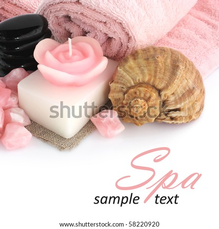 set of objects for body care and relaxation - stock photo
