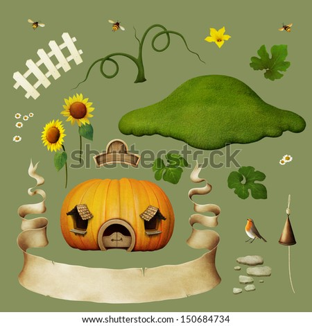 Set of objects for house pumpkins. - stock photo