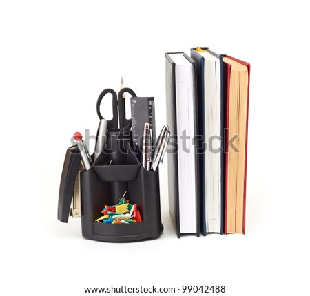 Set of office accessories. It is isolated on a white background - stock photo