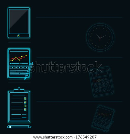 Set of office and business work elements neon icon. Raster version