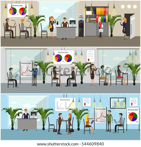 Set of office interior banners in flat style design. Business people and office workers. Office interior.