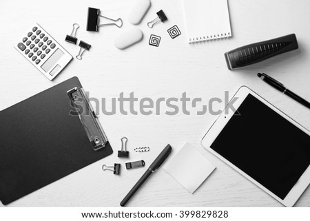 Set of office stationery isolated on a white background with a copy space - stock photo