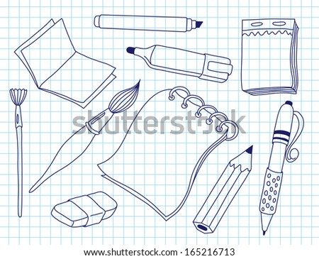 Set of office tools. Doodle illustration.