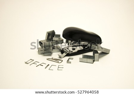 Set of office tools for working with the papers and documents on white background
