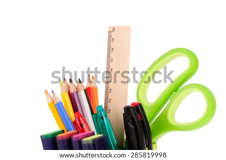 set of office tools isolated over white background - stock photo