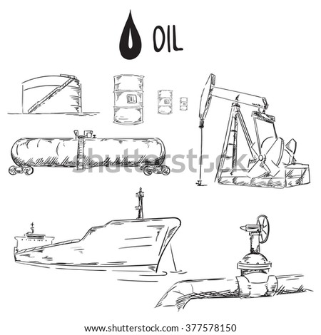 Set of oil industry objects illustration - stock photo