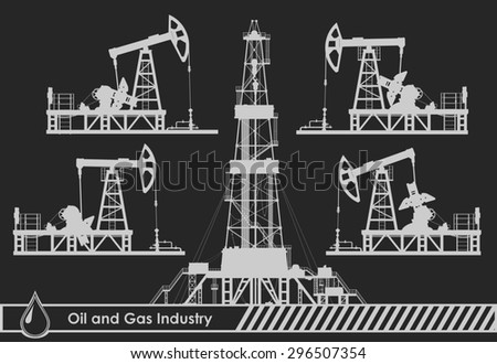 Set of oil pumps and rig silhouettes. Raster version of the illustration.