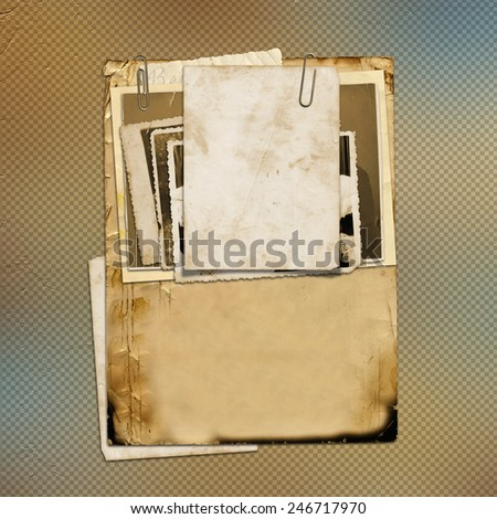 Set of old archival papers and vintage postcard on abstract background  - stock photo