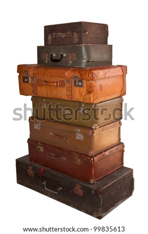 set of old colored suitcases isolated on white background
