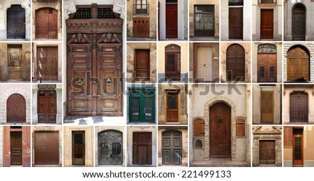 Set of 24 old doors and gates from Spain