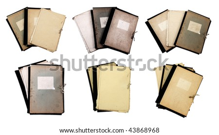 set of old folders isolated on white background with clipping path