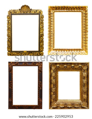 Set of old  gold frames. Isolated over white background, may be used for photo or picture