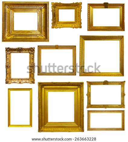 Set of old gold frames. Isolated over white, may be used for photo or picture