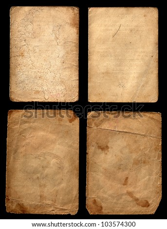 Set of old grunge papers on a black background - stock photo