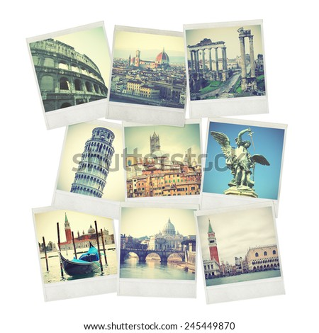 Set of old instant photos of Italy - stock photo