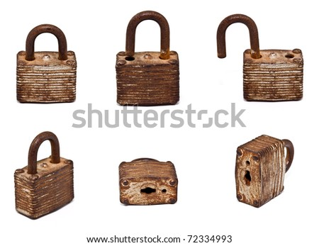 set of old lock isolated on white background (Hi Resolution)