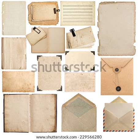 set of old paper, book, page, cardboard, envelope, photo frame with corner isolated on white background - stock photo