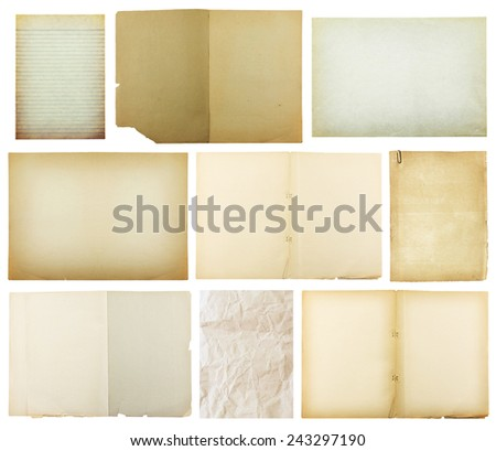 set of old paper isolated on white background , with clipping path  - stock photo
