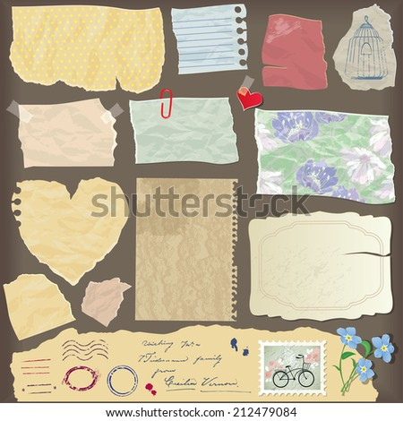 Set of old paper peaces - different aged paper objects, vintage backgrounds and elements. Raster version - stock photo