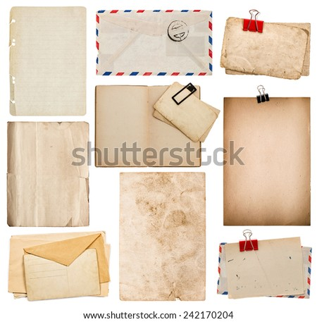 set of old paper sheets, book, envelope, cardboard isolated on white background