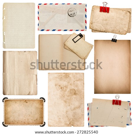 Set of old paper sheets, book, envelope, photo frame with corner isolated on white background - stock photo