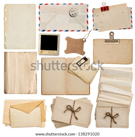set of old paper sheets, book, envelope, postcards isolated on white background - stock photo